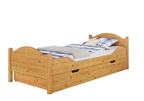 Erst-Holz® Massivholz-Bett Kiefer Natur 100x200 Einzelbett Rollrost Matratze Bettkasten 60.30-10 M S4