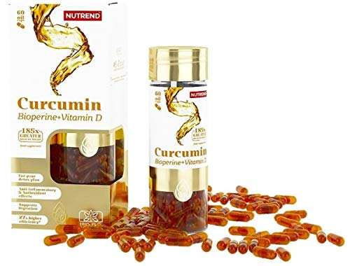 CURCUMIN + BIOPERINE + VITAMIN D by Nutrend 60 Caps antioxidant effects, is inflammable, supports digestion and is an ideal product for detox plans -