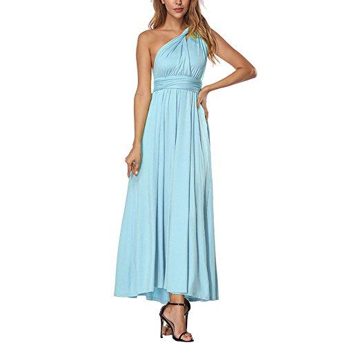 f44c9b915c07 Damen Partykleid Elegant V-Ausschnitt Rückenfrei Maxi Lang Satin Träger Kleid  Abendkleid.