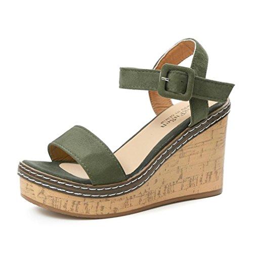 Binggong Sandales Femmes Bouche de Poisson Sandales Platform Talons Hauts Sandales compensées Buckle Slope Sandales Sandales Femmes Ete 2018 Sandales Chaussure Femme Pas Cher Sandales (CN38, Vert)