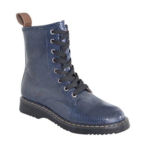 MOVE Lace Boots Mädchen, Bottes mi-hauteur non doublées fille Bleu - Blau (Marine285)