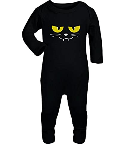 Katzen Gesicht Gruselig Halloween Karneval Kostüm Baby Strampler Strampelanzug 6M Schwarz (Kinder Cat Halloween Kostüme)