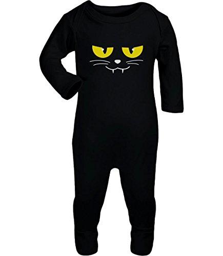 Katzen Gesicht Gruselig Halloween Karneval Kostüm Baby Strampler Strampelanzug 18M Schwarz