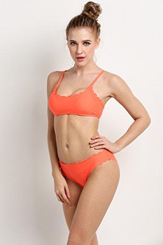 ZEARO Damen Sexy Bikini Set Swimwear Bademode Badeanzug Swimsuit Badebekleidung Orange