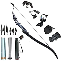 Tongtu Outdoor Tir à l'arc Recurve Bow Takedown Chasse 30 35 40 45lbs Alliage Riser Droite (45lbs)