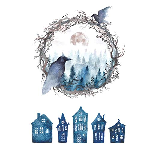 Meisijia Halloween-Geisterhaus-Geist-Vogel-Wand-Aufkleber PVC-Haupt Kinderzimmer Abziehbilder Removable Dinning Room Wallpaper