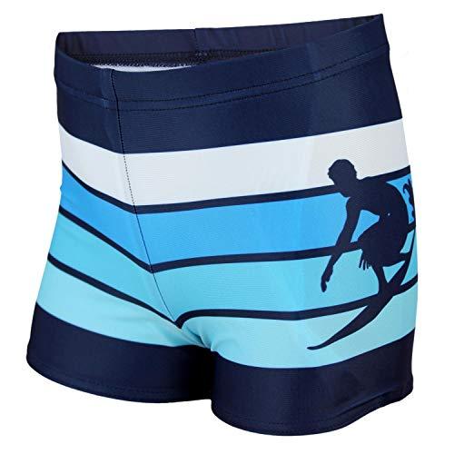 Aquarti Jungen Badehose Gestreift mit Surfer Motiv, Farbe: Dunkelblau/Blau, Größe: 134
