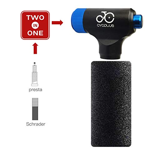 CYCPLUS CO2 Inflator Fahrrad Reifenpumpe kompatibel mit Presta und Schrader Ventil Mini Kartuschenpumpe für Rennrad und Mountainbikes Keine CO2-Kartuschen enthalten-Blau
