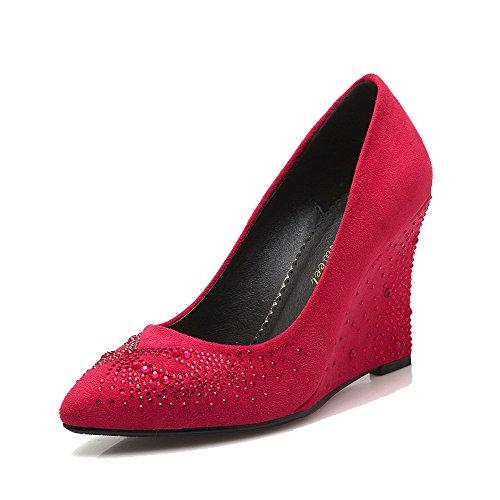 Wedges Braune Riemchen (AllhqFashion Damen Ziehen auf Spitz Zehe Hoher Absatz Mattglasbirne Rein Pumps Schuhe, Rot, 42)