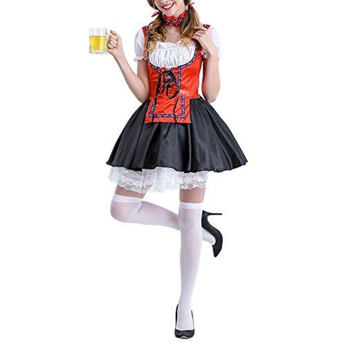 West See Damen Trachtenkleid 3 Teilig Dirndl Bluse Schürze Oktoberfest Kleider Kostüm Midi Spitze Stickrei kariert Grün Rot Rosa Schwarz