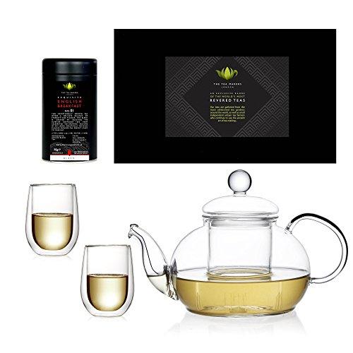 Tea /& Tea Feelino Th/éi/ère en Verre avec Filtre en Verre et Couvercle en Verre Borosilicate avec Logo sur Le Fond en Verre 800 ML