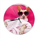 Wanduhr Stille Nicht Ticken, Chihuahua Hund Entspannende Liegen Spa Wellness Tiere Wildlife Clock Für Zuhause Schlafzimmer Büro Durchmesser 9,84'