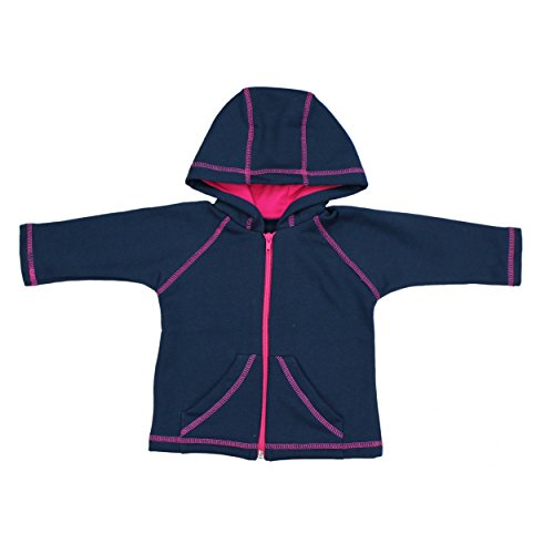 Baby Sweat Jacke mit Kapuze Jungen Kapuzenjacke Sweatjacke Mädchen Trainingsjacke Herbst Winter Warm, Farbe: Dunkelblau / Pink, Größe: 80