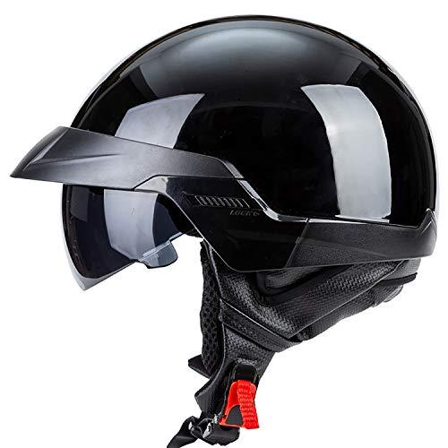 Erwachsener Harley Motorradhalbhelm mit Sonnenblende Schnellverschluss und Teleskoplinse für Männer und Frauen Erhältlich Fahrrad Roller Motorrad Cruiser Helm DOT-zertifiziert Abnehmbar Gefüttert,L