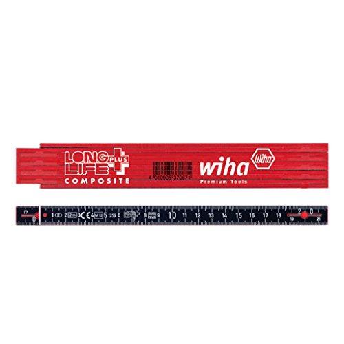 Wiha Gliedermaßstab Longlife® Plus Composite 2 m metrisch, 10 Glieder (37067) rot/schwarz