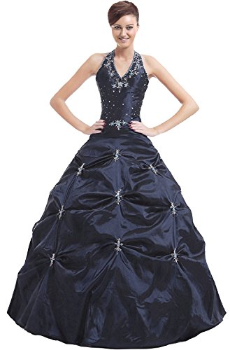 Kmformals Damen Halfter Prom BallKleid Abendkleid Quinceanera Kleider Größe 42 Dunkel Blau (Gefüttert, Neckholder-kleid Perlen)