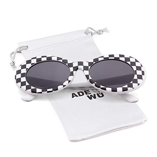 ADEWU Ovale Sonnenbrille UV400 Schutz Vintage Clout Goggles für Damen Herren