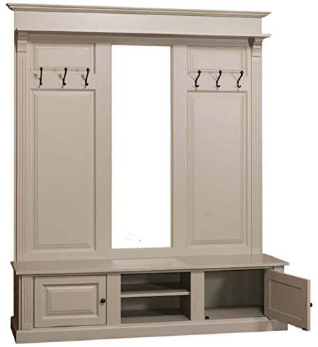 Casa Padrino Landhausstil Garderobe Oliv 180 x 41 x H. 210 cm - Massivholz Garderobenschrank mit Spiegel - Landhausstil Garderobenmöbel