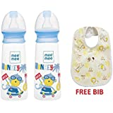 Mee Mee Eazy Flo Premium Baby Feeding Bottle (250 Ml, Blue) Pack Of 2 And Bib Free