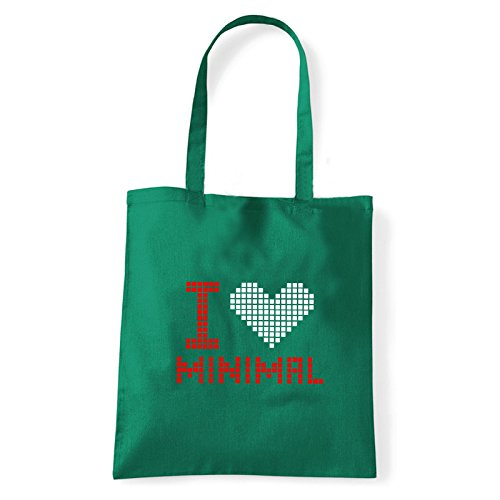 Art T-shirt, Borsa Shoulder I Love Minimal, Shopper, Mare Verde