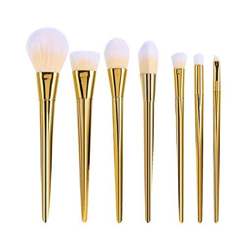 Tinabless 7 Makeup Brushes-Set di pennelli professionali, strumenti di bellezza Cosmetics-Set di pennelli in setole naturali, Make Up Brush-Set Pro Foundation Concealer-Contour, Palette Pennello per sopracciglia durante la miscelazione Face Powder-Set di pennelli
