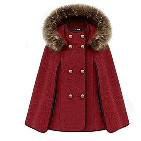 Manteaux Hiver Femme - Zicac- Poncho à capuche avec fourrure femme