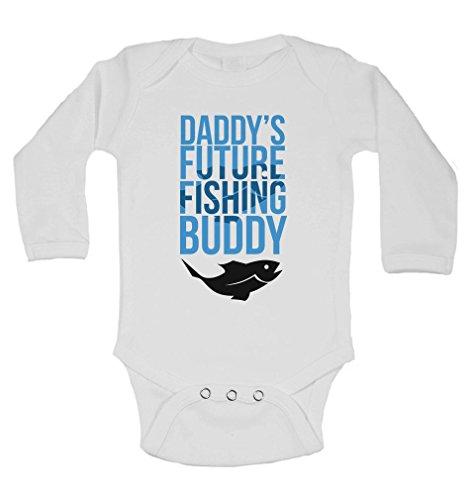 daddyâ € ™ s Zukunft Angeln Buddy–personalisierbar Lange Ärmel Baby Westen Bodys Baby wächst–Unisex (Jungen, Mädchen)–Weiß–3–6Monate