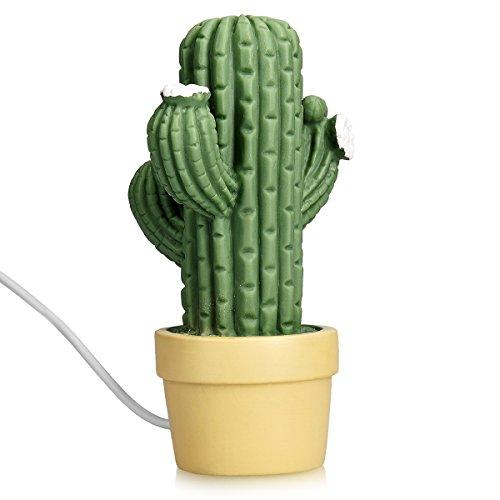Navaris LED Nachtlicht Kaktus Design - Kindernachtlicht mit 2m USB-Kabel & Batterie - süße Mini Lampe für Kinder & Erwachsene - Kinderzimmer Büro