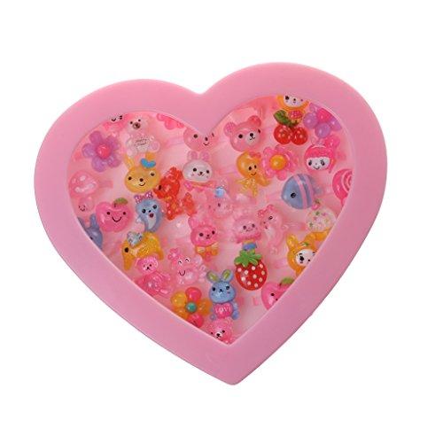 Caja de Joyería Forma de Corazón Anillos Plásticos Rosada Chica Presente Niños - 36pcs #1