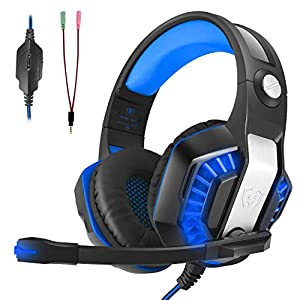 Gaming Headset, CHEREEKI Surround Sound Kabel Headset mit Mikrofon, Gaming Kopfhörer mit Buntes LED-Licht