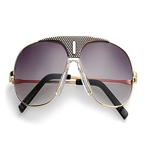 ZHAOSHUNAN Sonnenbrillen Steampunk Square Sonnenbrille Herren Flat Top Metall Gold Super Large Sonnenbrille Herren Uv400 Farbe, F