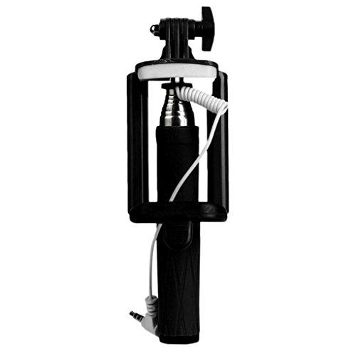Fulltime® Compact Feder-Größe leicht gewichtet rostfreiem Selfie-Stange für iPhone 6/S/Plus Teleskop Erweiterbar Pole Handheld Einbeinstativ mit Telefon-Clip und Auslöser für Apple/Samsung/LG/HTC/XIAOMI/Huawei/iOS/Android-Handy,85g,15,5cm-63cm (Schwarz)