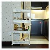 QINCH HOME Refrigerador de grietas de la cocina de la rejilla de múltiples capas de la polea de la leucorrea de marfil al lado del estante (Size : 4 layers)