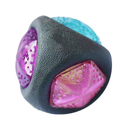 HMLZJ Hundespielzeugball mit LED-Leuchten und Pfeife, Putzhundespielzeug, Farbwechsellampe aus thermoplastischem Gummi. 7,6 cm