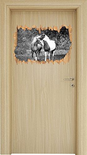 Preisvergleich Produktbild zwei schmusende Pferde Kunst B&W Holzdurchbruch im 3D-Look ,  Wand- oder Türaufkleber Format: 62x42cm,  Wandsticker,  Wandtattoo,  Wanddekoration
