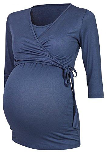 Happy Mama. Women's Maternity Nursing 2in1 Bolero Top Shirt 3/4 Sleeve. 458p (Blue Grey, UK 20, 4XL)