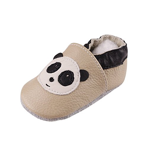 FREE FISHER Unisex Scarpe Casuali Sandali per Bambino/Bambina in Pelle Morbida Imparare a Camminare panda