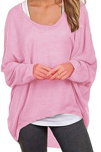 Meyison Damen Lose Asymmetrisch Sweatshirt Pullover Bluse Oberteile Oversized Tops T Shirt Rosa XXL