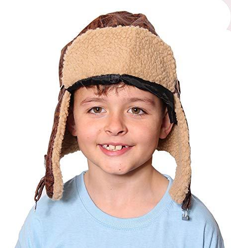 ILOVEFANCYDRESS Pilotenhut für Erwachsene und Kinder, 1940er-Jahre, in Kinder- und Erwachsenengrößen - WW2 Pilotenkappe, veraltetes Leder-Look, Braun (Brille Mit Pilotenmütze)