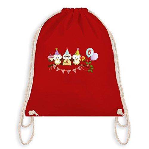 Geburtstag Kind - 6. Geburtstag süße Party Eulen - Turnbeutel I Gym Bag Rot