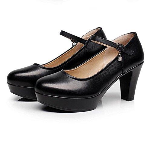 Escarpins YIXINY Noir Chaussures Pour Femmes Talons Hauts 8 CM Chaussures De Performance Loisirs Tête Ronde Talon Épais Printemps Et Été