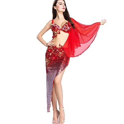 (MoLiYanZi Paillette Bauchtanz-Outfit für Frauen Leistung Wettbewerb Kostüm Bestickter BH Chiffon Schulter Yarn, Red, M)