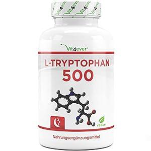 Vit4ever® L-Tryptophan 500 mg – 300 Kapseln – Laborgeprüft – Reine Aminosäure aus pflanzlicher Fermentation – Hochdosiert – Vegan – Premium Qualität