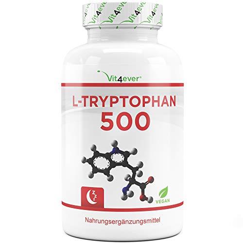 Vit4ever® L-Tryptophan 500 mg - 240 Kapseln - Laborgeprüft - Reine Aminosäure aus pflanzlicher Fermentation - Hochdosiert - Vegan - Premium Qualität