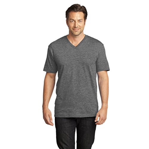 Heathered T-shirt (District Made Herren Asymmetrisch T-Shirt Grau Heathered Nickel XXX-Large)