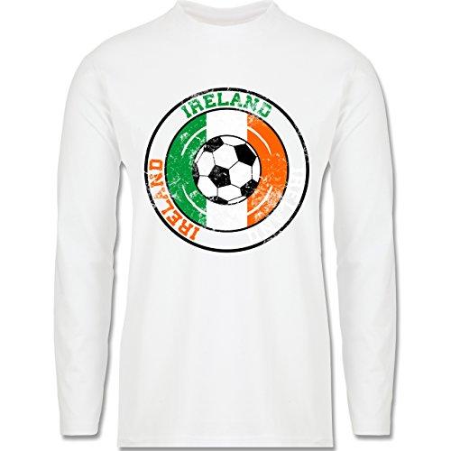 EM 2016 - Frankreich - Ireland Kreis & Fußball Vintage - Longsleeve / langärmeliges T-Shirt für Herren Weiß