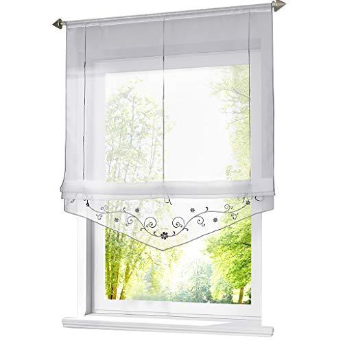 ESLIR Raffrollo mit Schlaufen Raffgardinen Gardinen Küche Transparent Schlaufenrollo Vorhänge Bestickt Modern Voile Grau BxH 120x140cm 1 Stück (Vorhang 120 Gardinen)