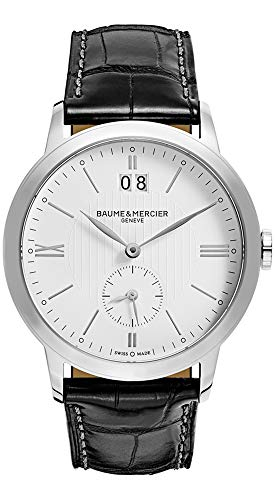 Baume and Mercier Classima Executives Stainless Steel Black Leather MOA10218 White Dial Date Quartz Mens Watch