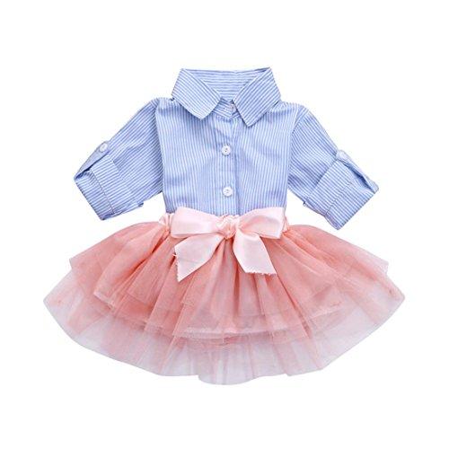 Byste abito bambina ragazze abiti maniche lunghe banda camicia top t-shirt + gonna di garza bowknot tutu vestito da principessa impostato (blu, 24 mesi)