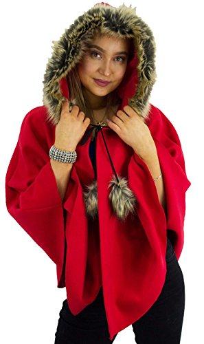 Girlzwalk New Gorgeous Damen Gestrickte Kurze Cape Poncho Mit Weichem Kapuzenpelz Einheitsgröße (Rot, Einheitsgröße)